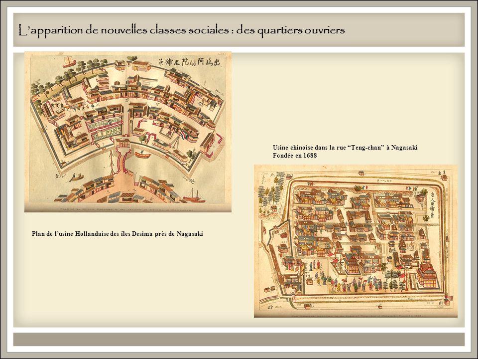 Lapparition de nouvelles classes sociales : des quartiers ouvriers Plan de lusine Hollandaise des îles Desima près de Nagasaki Usine chinoise dans la rue Teng-chan à Nagasaki Fondée en 1688