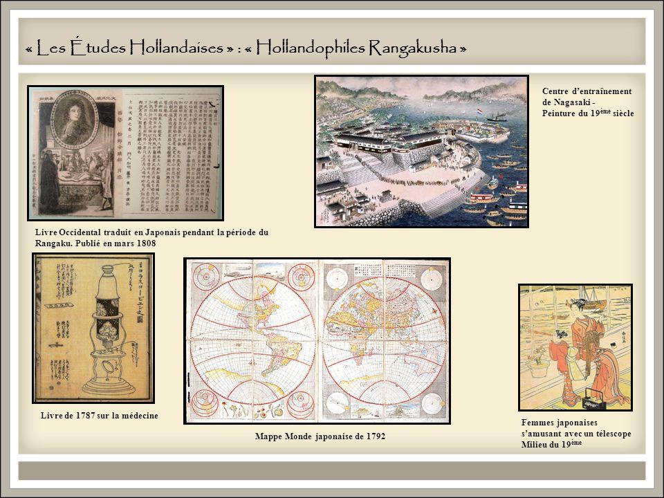 « Les Études Hollandaises » : « Hollandophiles Rangakusha » Centre dentraînement de Nagasaki - Peinture du 19 ème siècle Femmes japonaises samusant avec un télescope Milieu du 19 ème Livre Occidental traduit en Japonais pendant la période du Rangaku.