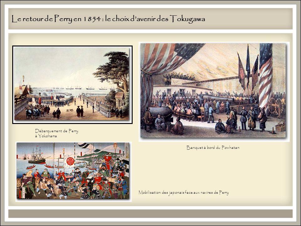 Débarquement de Perry à Yokohama Le retour de Perry en 1854 : le choix davenir des Tokugawa Banquet à bord du Powhatan Mobilisation des japonais face aux navires de Perry