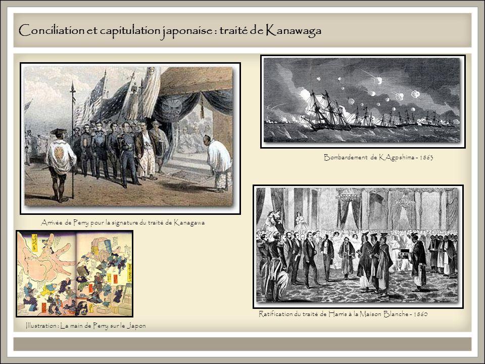 Conciliation et capitulation japonaise : traité de Kanawaga ) Arrivée de Perry pour la signature du traité de Kanagawa Ratification du traité de Harris à la Maison Blanche - 1860 Bombardement de KAgpshima - 1863 Illustration : La main de Perry sur le Japon