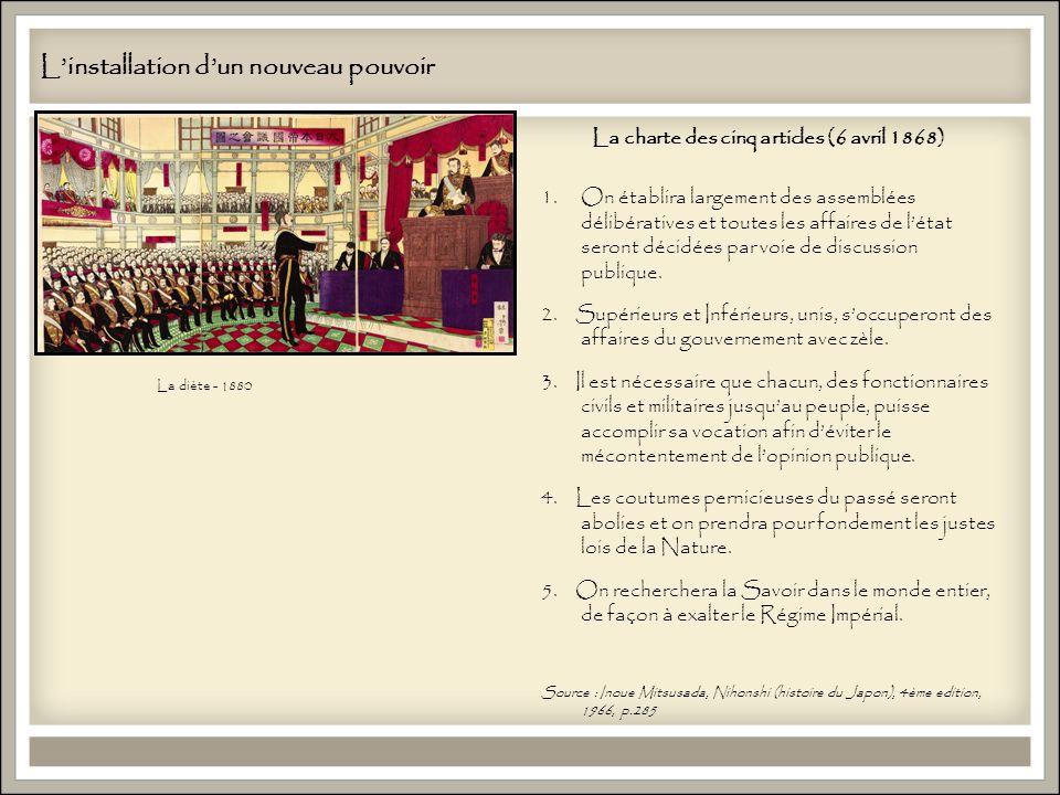 Linstallation dun nouveau pouvoir La diète - 1880 La charte des cinq articles (6 avril 1868) 1.On établira largement des assemblées délibératives et toutes les affaires de létat seront décidées par voie de discussion publique.