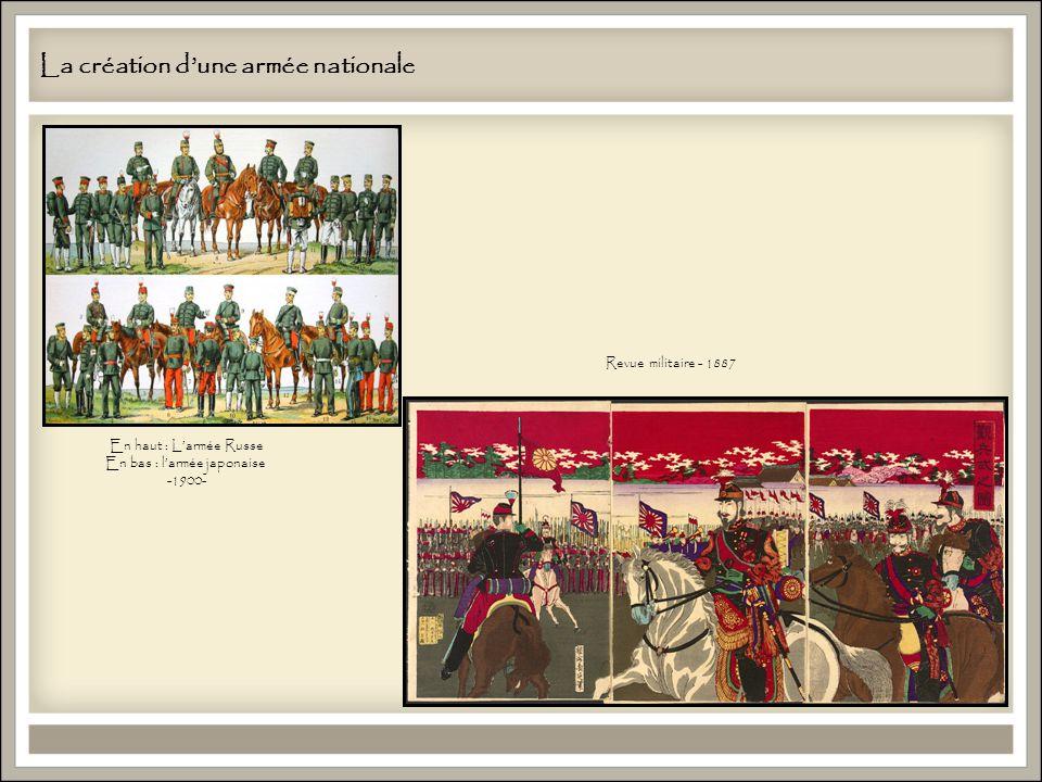 La création dune armée nationale En haut : Larmée Russe En bas : larmée japonaise -1900- Revue militaire - 1887