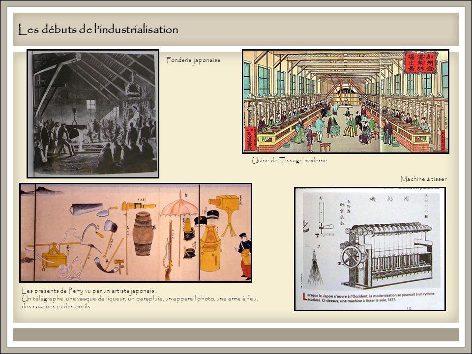 Les débuts de lindustrialisation Usine de Tissage moderne Fonderie japonaise Machine à tisser Les présents de Perry vu par un artiste japonais : Un télégraphe, une vasque de liqueur, un parapluie, un appareil photo, une arme à feu, des casques et des outils