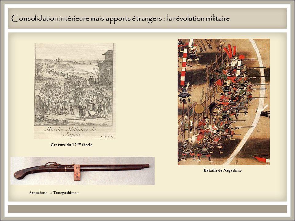 Consolidation intérieure mais apports étrangers : la révolution militaire Arquebuse « Tanegashima » Bataille de Nagashino Gravure du 17 ème Siècle