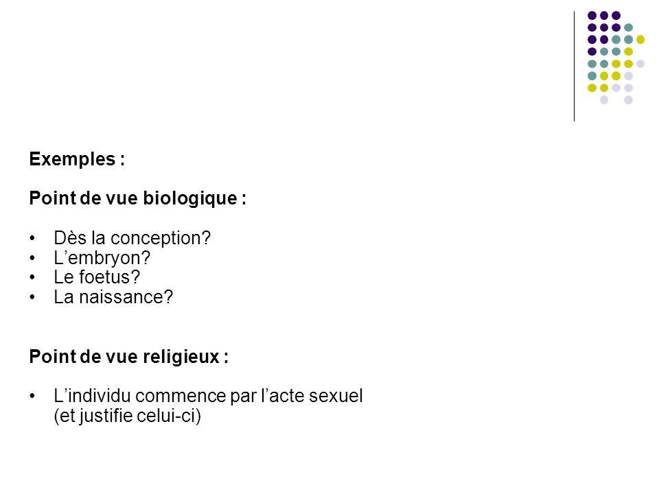 Exemples : Point de vue biologique : Dès la conception? Lembryon? Le foetus? La naissance? Point de vue religieux : Lindividu commence par lacte sexue