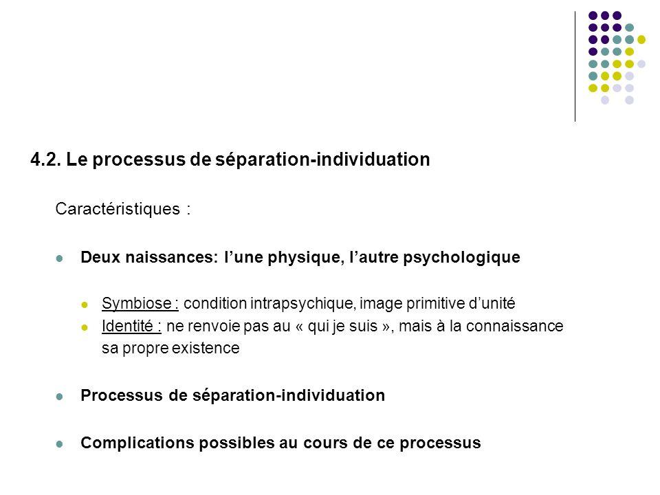 4.2. Le processus de séparation-individuation Caractéristiques : Deux naissances: lune physique, lautre psychologique Symbiose : condition intrapsychi