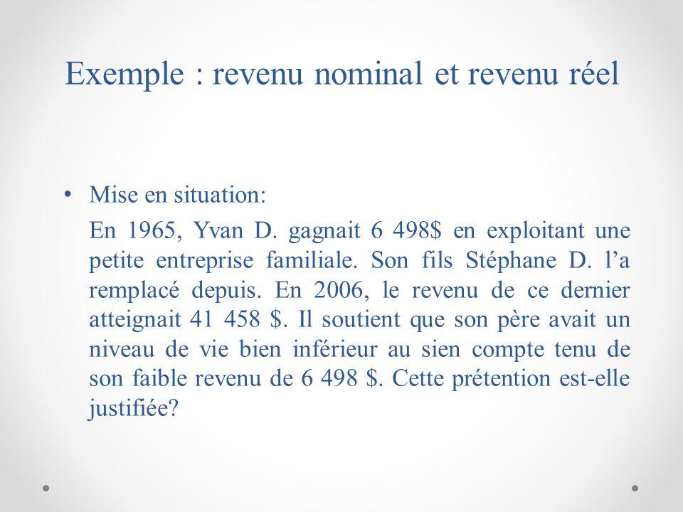 Exemple : revenu nominal et revenu réel Mise en situation: En 1965, Yvan D.