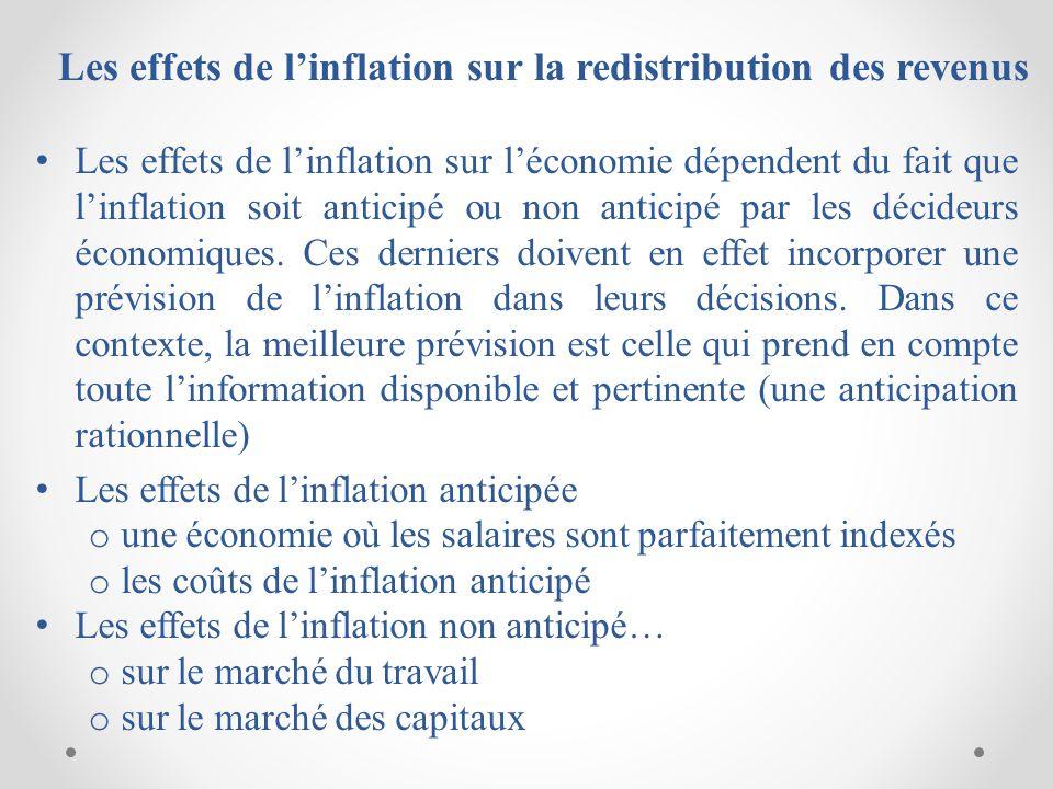 Les effets de linflation sur la redistribution des revenus Les effets de linflation sur léconomie dépendent du fait que linflation soit anticipé ou non anticipé par les décideurs économiques.