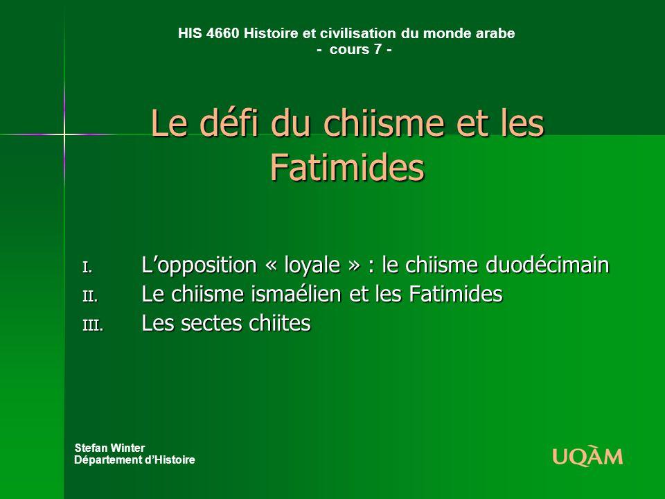 Le défi du chiisme et les Fatimides I.Lopposition « loyale » : le chiisme duodécimain II.