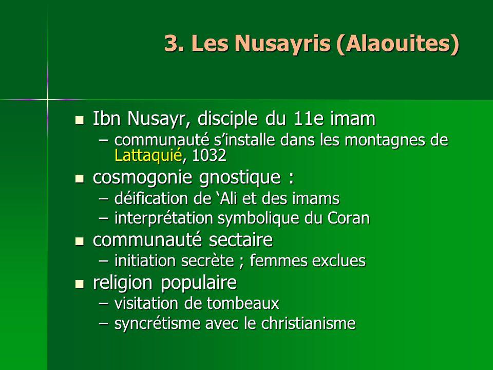 3. Les Nusayris (Alaouites) Ibn Nusayr, disciple du 11e imam Ibn Nusayr, disciple du 11e imam –communauté sinstalle dans les montagnes de Lattaquié, 1
