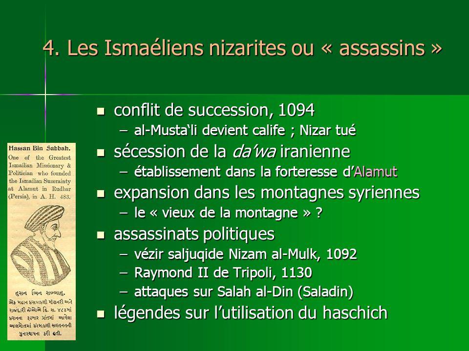 4. Les Ismaéliens nizarites ou « assassins » conflit de succession, 1094 conflit de succession, 1094 –al-Mustali devient calife ; Nizar tué sécession