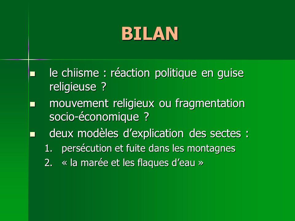 BILAN le chiisme : réaction politique en guise religieuse .