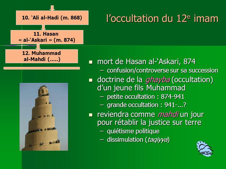 loccultation du 12 e imam mort de Hasan al-Askari, 874 mort de Hasan al-Askari, 874 –confusion/controverse sur sa succession doctrine de la ghayba (occultation) dun jeune fils Muhammad doctrine de la ghayba (occultation) dun jeune fils Muhammad –petite occultation : 874-941 –grande occultation : 941-....