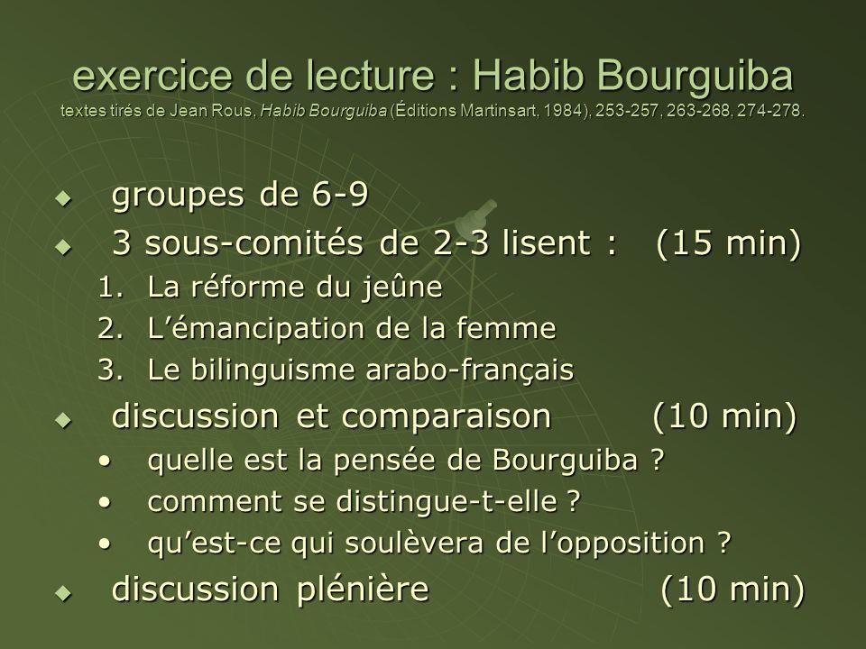 exercice de lecture : Habib Bourguiba textes tirés de Jean Rous, Habib Bourguiba (Éditions Martinsart, 1984), 253-257, 263-268, 274-278. groupes de 6-