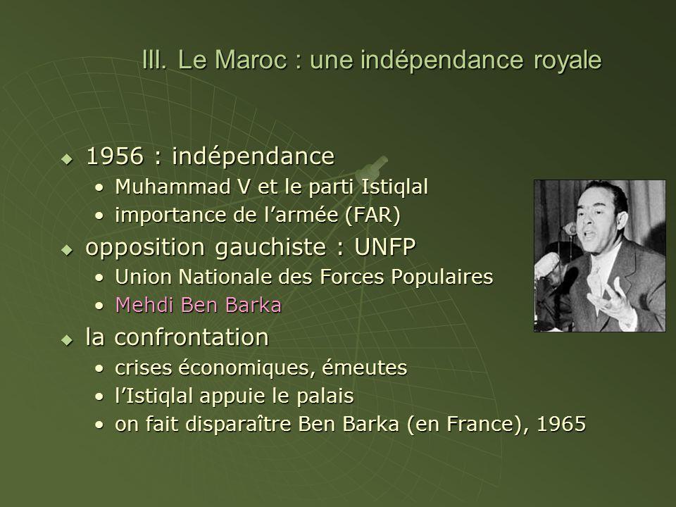 III. Le Maroc : une indépendance royale 1956 : indépendance 1956 : indépendance Muhammad V et le parti IstiqlalMuhammad V et le parti Istiqlal importa