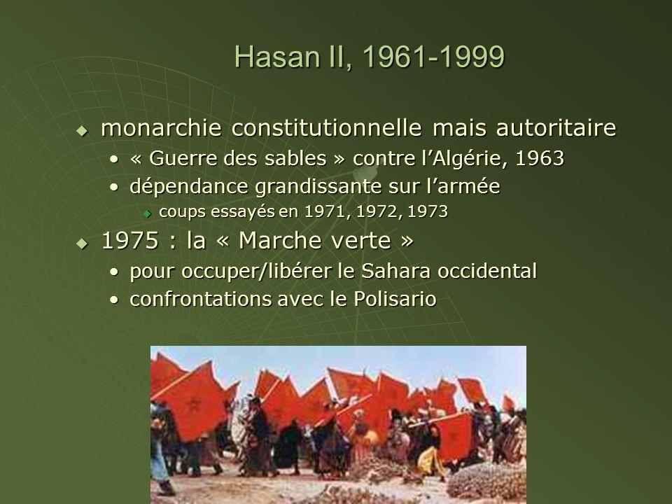Hasan II, 1961-1999 monarchie constitutionnelle mais autoritaire monarchie constitutionnelle mais autoritaire « Guerre des sables » contre lAlgérie, 1
