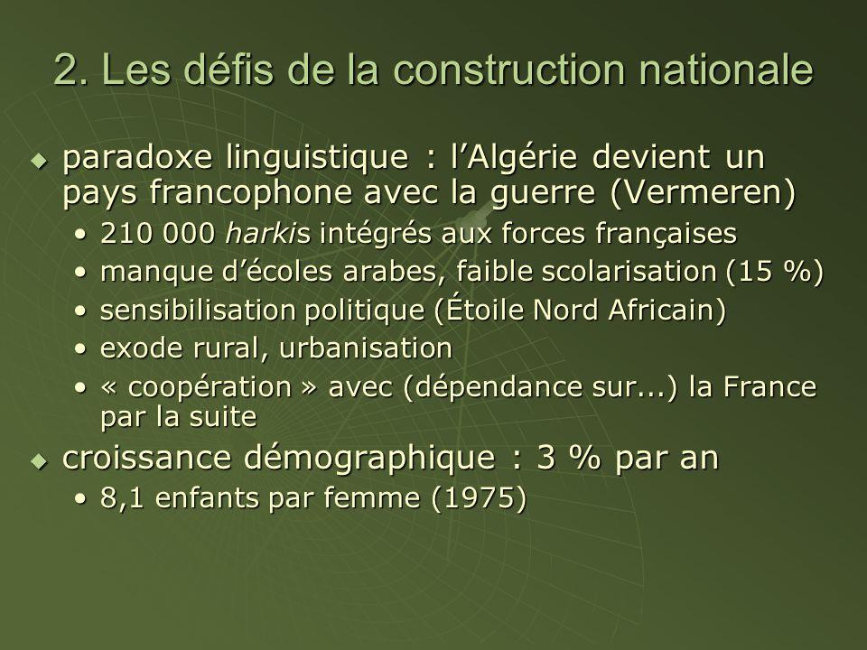 2. Les défis de la construction nationale paradoxe linguistique : lAlgérie devient un pays francophone avec la guerre (Vermeren) paradoxe linguistique