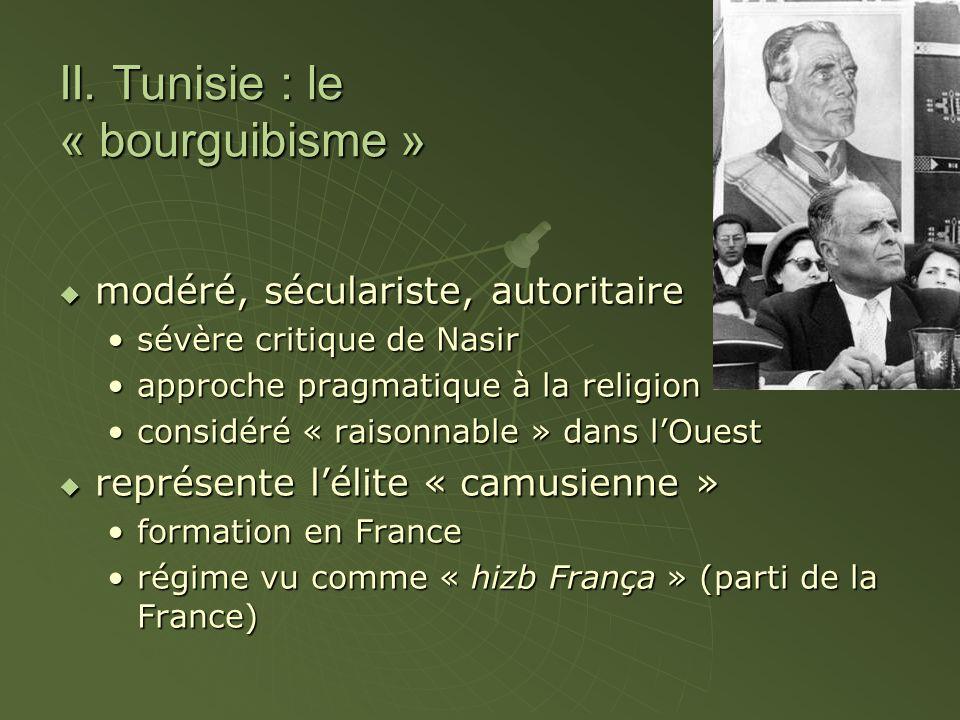 II. Tunisie : le « bourguibisme » modéré, séculariste, autoritaire modéré, séculariste, autoritaire sévère critique de Nasirsévère critique de Nasir a
