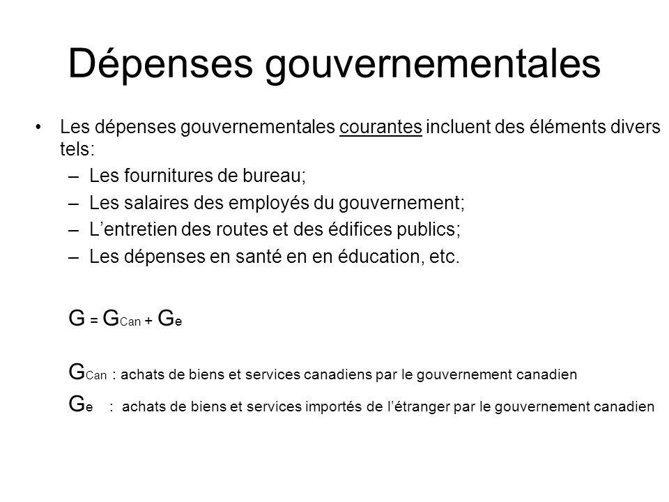 Les dépenses gouvernementales courantes incluent des éléments divers tels: –Les fournitures de bureau; –Les salaires des employés du gouvernement; –Lentretien des routes et des édifices publics; –Les dépenses en santé en en éducation, etc.