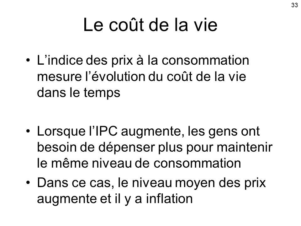 33 Le coût de la vie Lindice des prix à la consommation mesure lévolution du coût de la vie dans le temps Lorsque lIPC augmente, les gens ont besoin de dépenser plus pour maintenir le même niveau de consommation Dans ce cas, le niveau moyen des prix augmente et il y a inflation