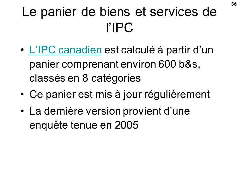 36 Le panier de biens et services de lIPC LIPC canadien est calculé à partir dun panier comprenant environ 600 b&s, classés en 8 catégoriesLIPC canadien Ce panier est mis à jour régulièrement La dernière version provient dune enquête tenue en 2005