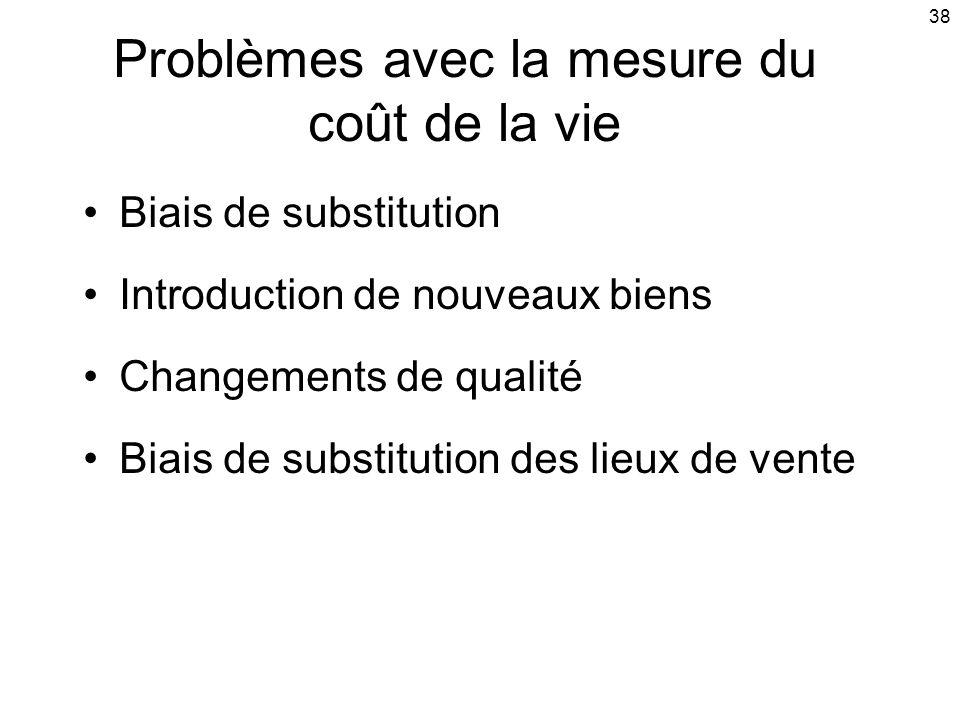 38 Problèmes avec la mesure du coût de la vie Biais de substitution Introduction de nouveaux biens Changements de qualité Biais de substitution des lieux de vente