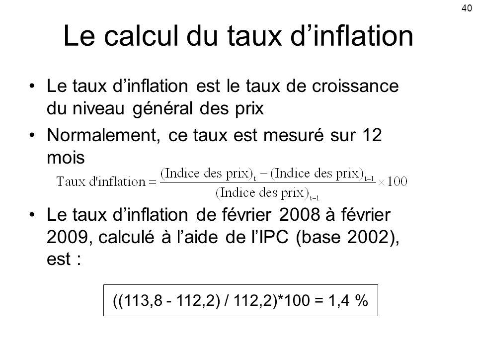 40 Le calcul du taux dinflation Le taux dinflation est le taux de croissance du niveau général des prix Normalement, ce taux est mesuré sur 12 mois Le taux dinflation de février 2008 à février 2009, calculé à laide de lIPC (base 2002), est : ((113,8 - 112,2) / 112,2)*100 = 1,4 %