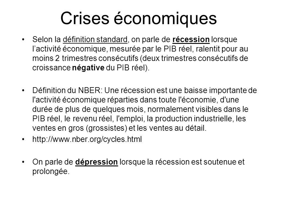 Crises économiques Selon la définition standard, on parle de récession lorsque lactivité économique, mesurée par le PIB réel, ralentit pour au moins 2 trimestres consécutifs (deux trimestres consécutifs de croissance négative du PIB réel).