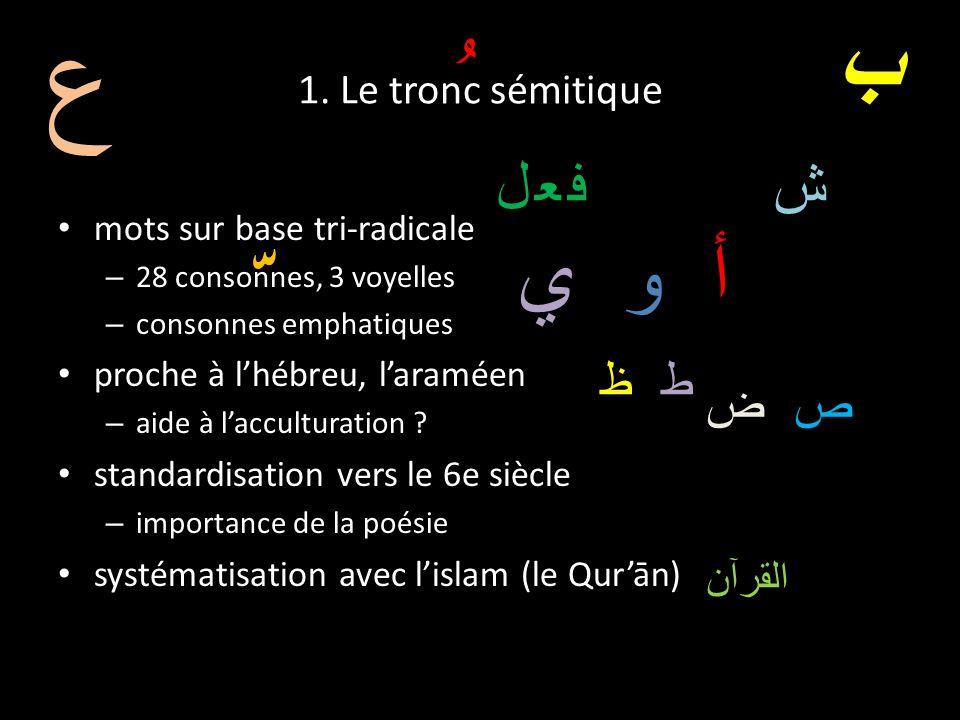 1. Le tronc sémitique mots sur base tri-radicale – 28 consonnes, 3 voyelles – consonnes emphatiques proche à lhébreu, laraméen – aide à lacculturation
