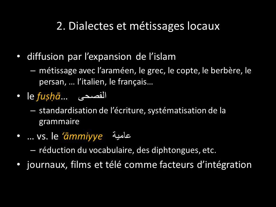 2. Dialectes et métissages locaux diffusion par lexpansion de lislam – métissage avec laraméen, le grec, le copte, le berbère, le persan, … litalien,