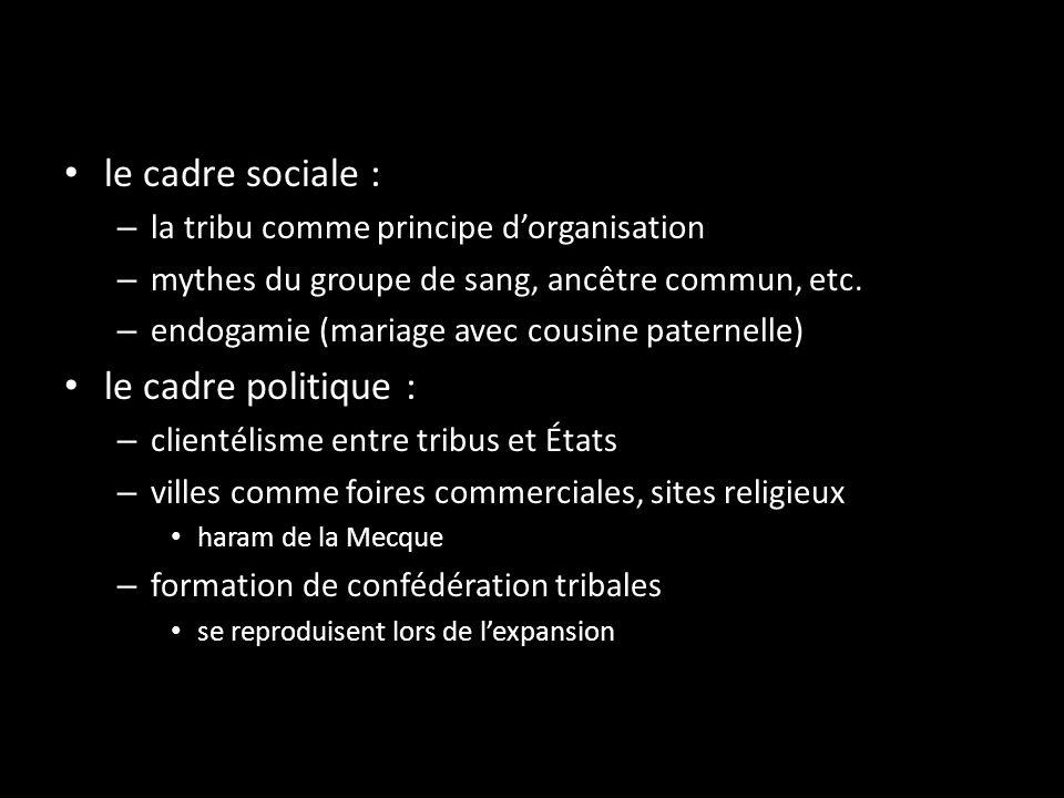 le cadre sociale : – la tribu comme principe dorganisation – mythes du groupe de sang, ancêtre commun, etc. – endogamie (mariage avec cousine paternel