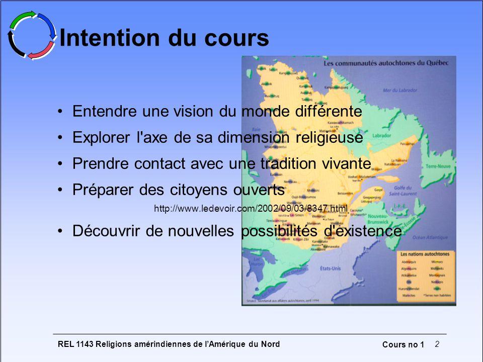 REL 1143 Religions amérindiennes de lAmérique du Nord2 Cours no 1 Intention du cours Entendre une vision du monde différente Explorer l'axe de sa dime