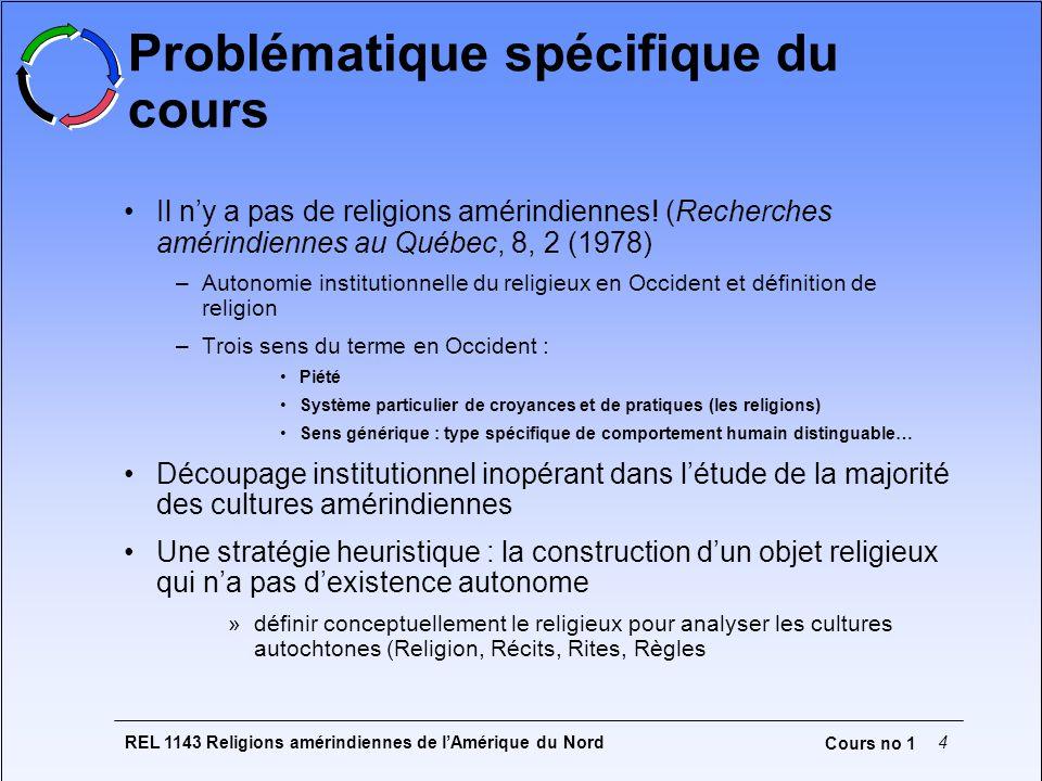 REL 1143 Religions amérindiennes de lAmérique du Nord4 Cours no 1 Problématique spécifique du cours Il ny a pas de religions amérindiennes! (Recherche