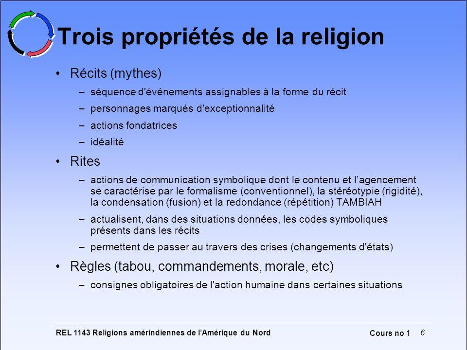 REL 1143 Religions amérindiennes de lAmérique du Nord6 Cours no 1 Trois propriétés de la religion Récits (mythes) –séquence d'événements assignables à