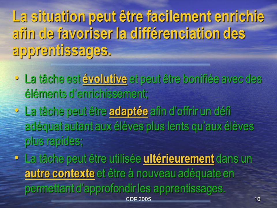 CDP 200510 La situation peut être facilement enrichie afin de favoriser la différenciation des apprentissages. La tâche est évolutive et peut être bon