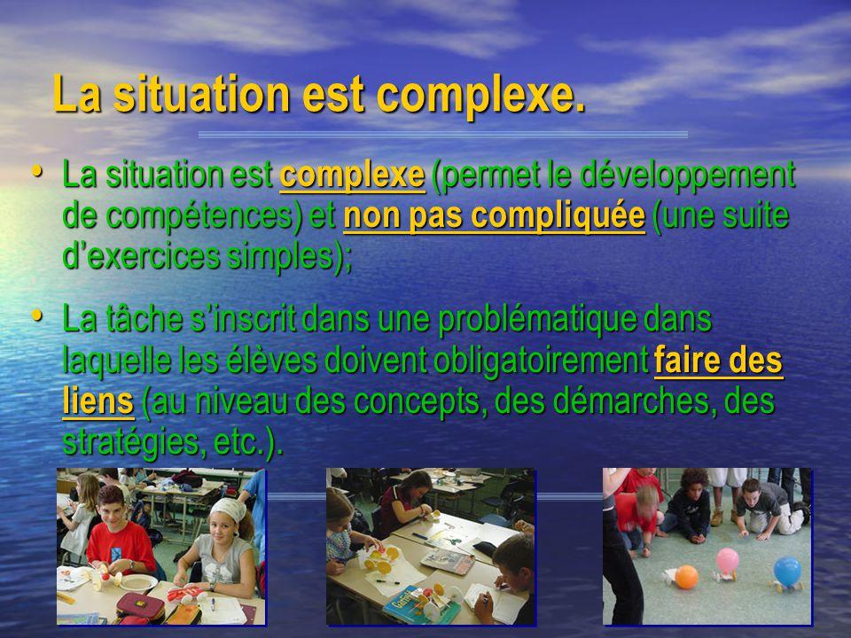 CDP 200512 La situation est complexe. La situation est complexe (permet le développement de compétences) et non pas compliquée (une suite dexercices s