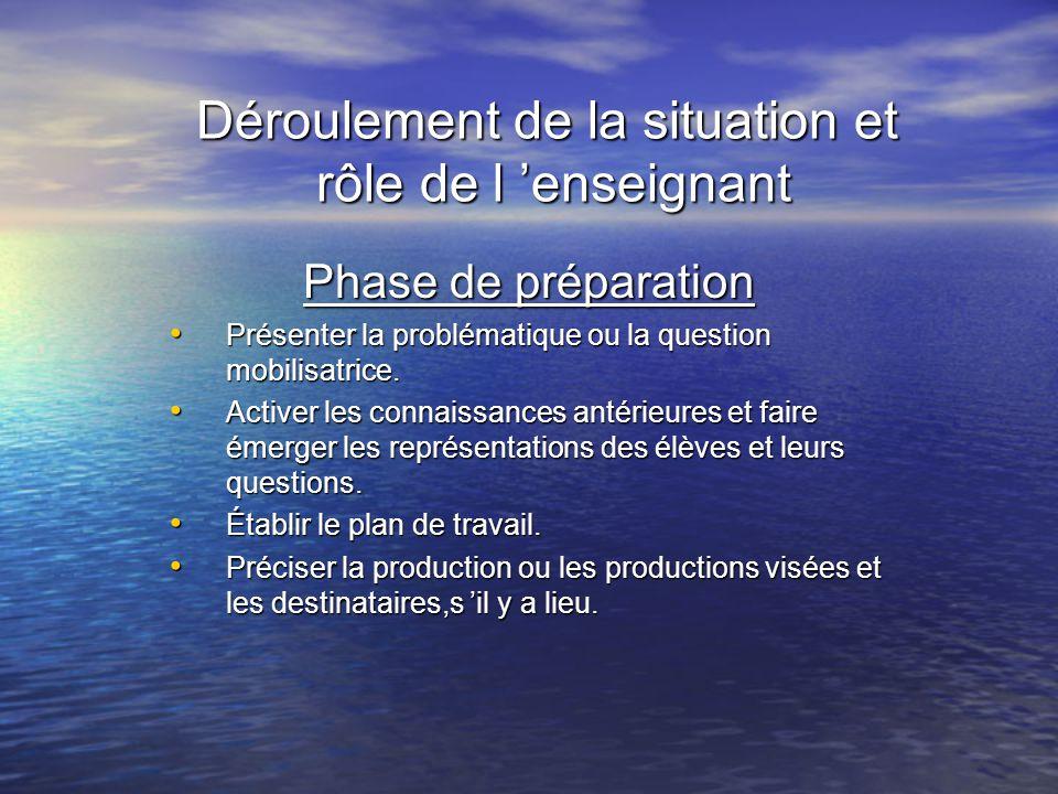 Déroulement de la situation et rôle de l enseignant Phase de préparation Présenter la problématique ou la question mobilisatrice. Présenter la problém