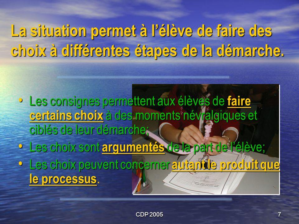 CDP 20057 La situation permet à lélève de faire des choix à différentes étapes de la démarche. Les consignes permettent aux élèves de faire certains c