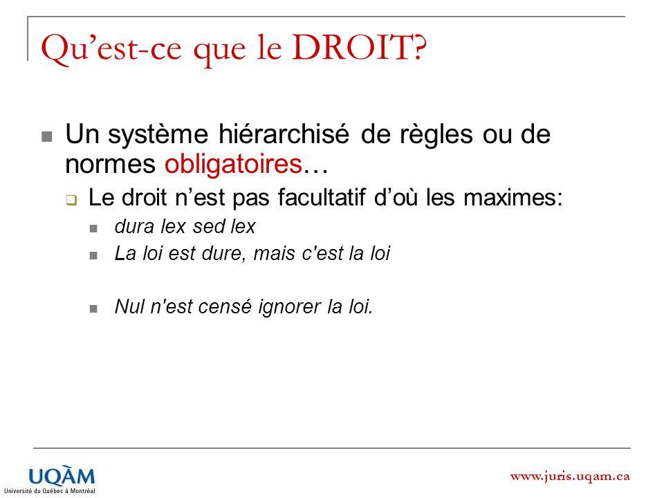 www.juris.uqam.ca Quest-ce que le DROIT? Un système hiérarchisé de règles ou de normes obligatoires… Le droit nest pas facultatif doù les maximes: dur