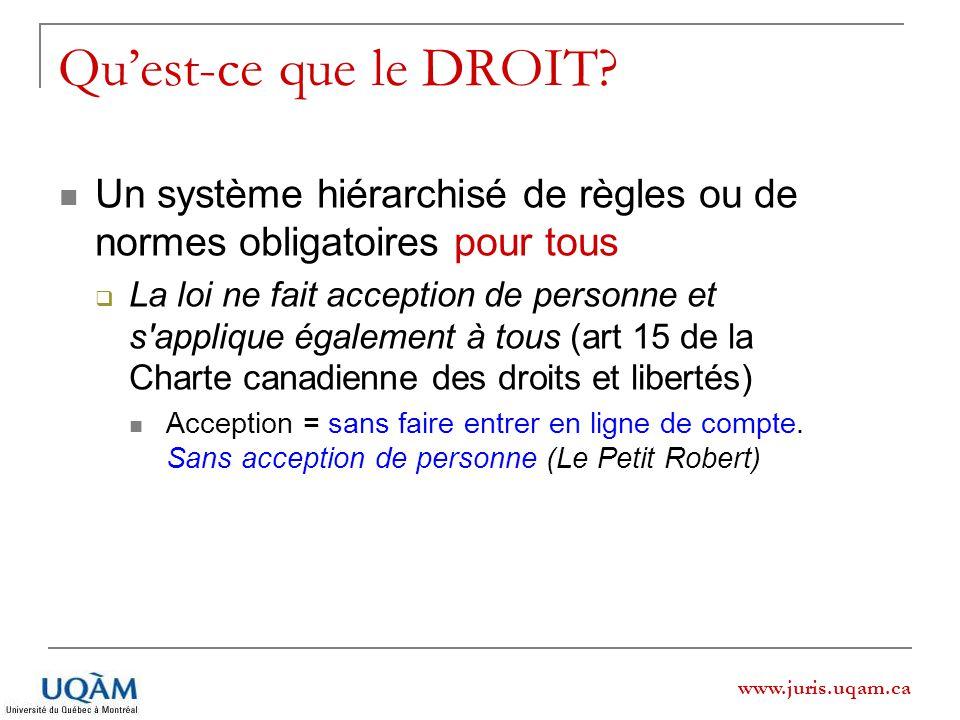 www.juris.uqam.ca Quest-ce que le DROIT? Un système hiérarchisé de règles ou de normes obligatoires pour tous La loi ne fait acception de personne et