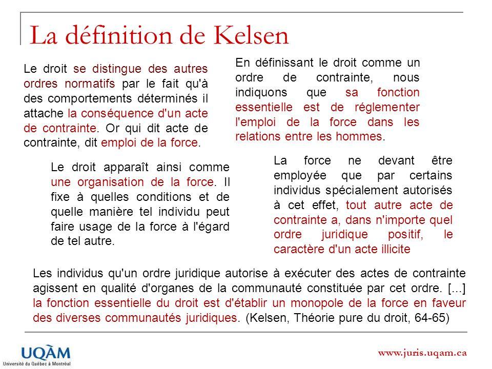 www.juris.uqam.ca La définition de Kelsen Les individus qu'un ordre juridique autorise à exécuter des actes de contrainte agissent en qualité d'organe