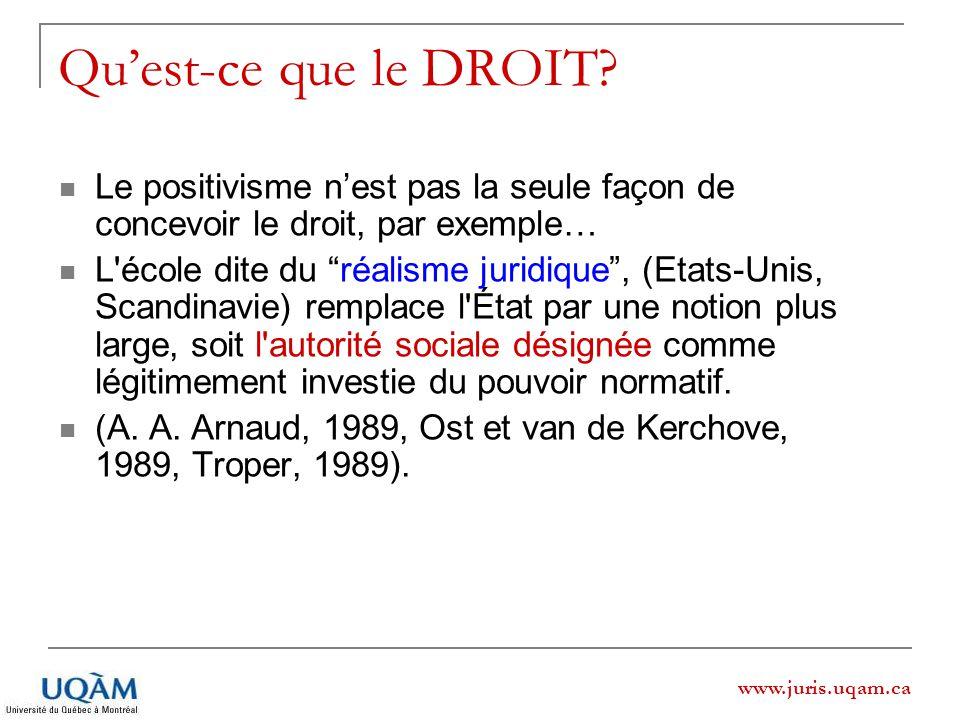 www.juris.uqam.ca Quest-ce que le DROIT? Le positivisme nest pas la seule façon de concevoir le droit, par exemple… L'école dite du réalisme juridique
