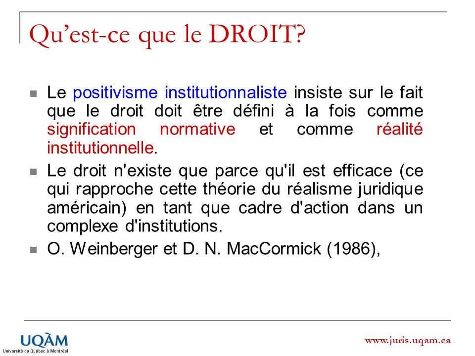 www.juris.uqam.ca Quest-ce que le DROIT? Le positivisme institutionnaliste insiste sur le fait que le droit doit être défini à la fois comme significa