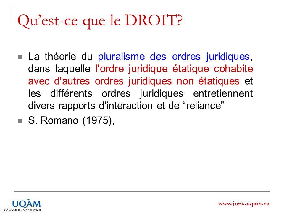 www.juris.uqam.ca Quest-ce que le DROIT? La théorie du pluralisme des ordres juridiques, dans laquelle l'ordre juridique étatique cohabite avec d'autr