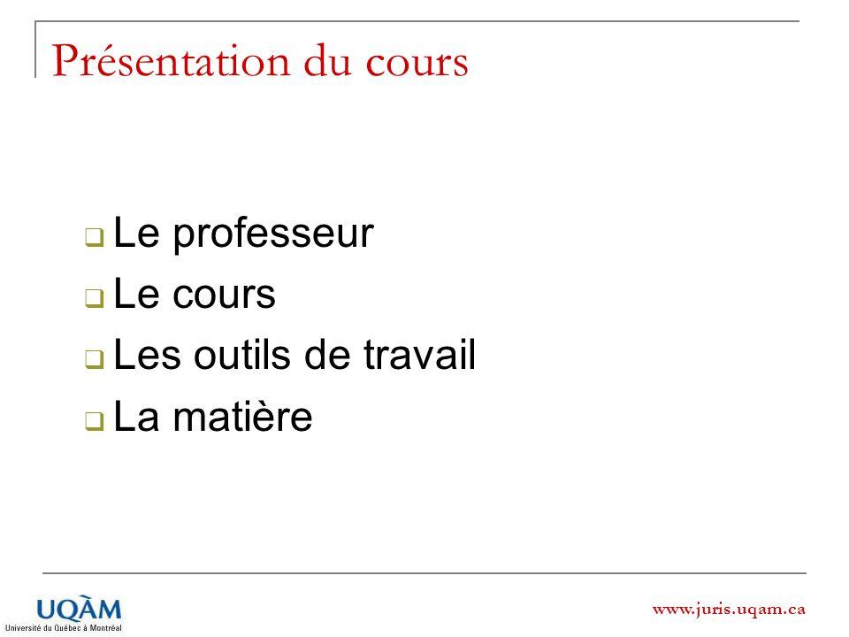 www.juris.uqam.ca Présentation du cours. Le professeur Le cours Les outils de travail La matière