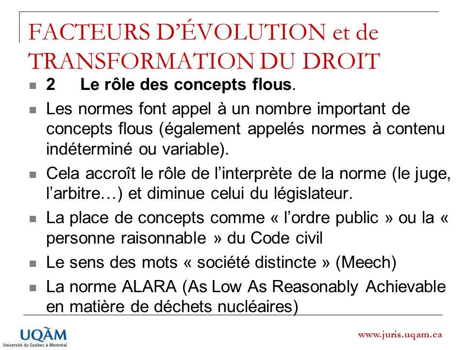www.juris.uqam.ca FACTEURS DÉVOLUTION et de TRANSFORMATION DU DROIT 2 Le rôle des concepts flous. Les normes font appel à un nombre important de conce