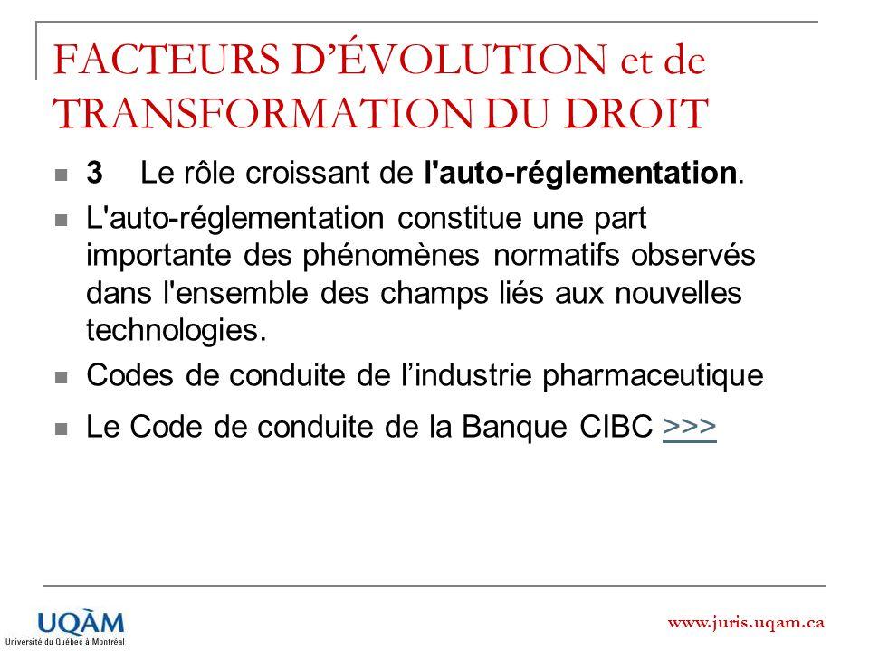 www.juris.uqam.ca FACTEURS DÉVOLUTION et de TRANSFORMATION DU DROIT 3Le rôle croissant de l'auto-réglementation. L'auto-réglementation constitue une p