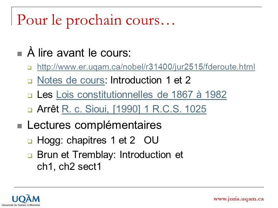 www.juris.uqam.ca Pour le prochain cours… À lire avant le cours: http://www.er.uqam.ca/nobel/r31400/jur2515/fderoute.html Notes de cours: Introduction