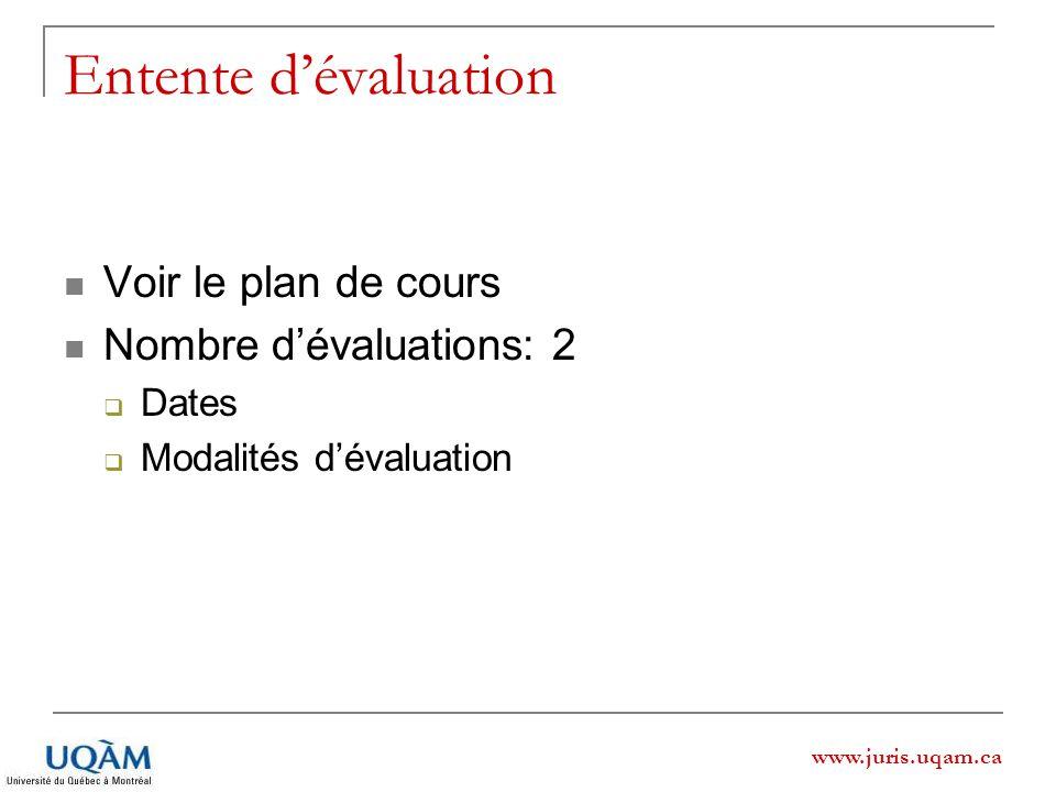 www.juris.uqam.ca Entente dévaluation Voir le plan de cours Nombre dévaluations: 2 Dates Modalités dévaluation