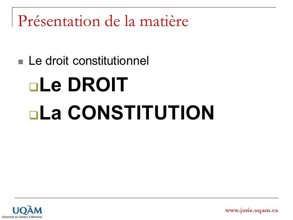 www.juris.uqam.ca Présentation de la matière Le droit constitutionnel Le DROIT La CONSTITUTION
